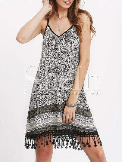 Black Spaghetti Strap Tribal Print Fringe Hem Dress