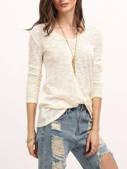 Women Beige V Neck Hooded Sweater