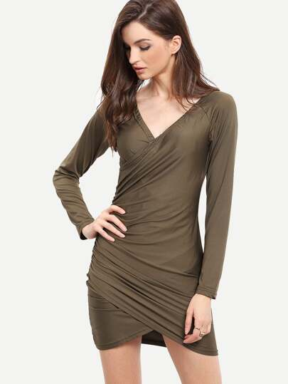 Army Green Long Sleeve Ruched Bodycon Dress