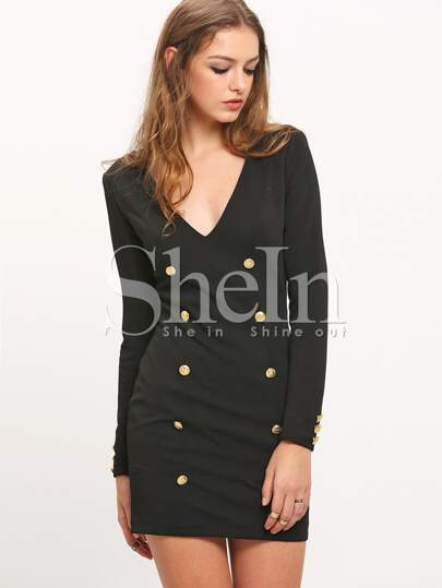 Black Long Sleeve Deep V Neck Bodycon Dress