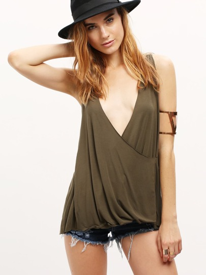 Army Green Split Back Wrap Chain Strap Cami Top