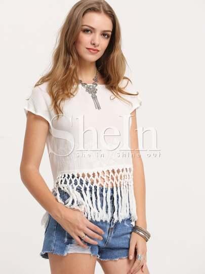 White Short Sleeve Tribal Tassel T-Shirt