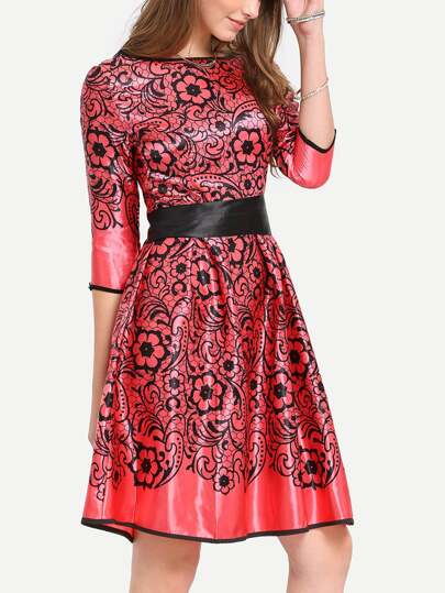 Flower Print Bow Tie Waist Red Dress