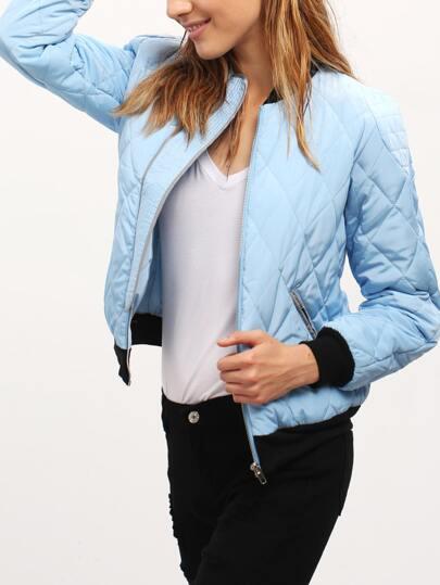 Blue Color Block Trims Bomber Jacket