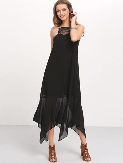 Black Spaghetti Strap Tassel Tie Back Maxi Dress