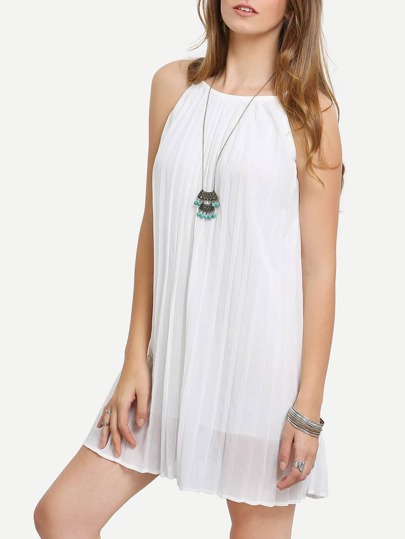 Pleated Racer Swing Cami Dress