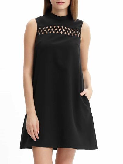 Black Mock Neck Hollow Front Zipper Back Shift Dress