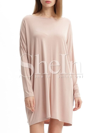 Nude Minis Long Sleeve Bat Sleeve Casual Dress