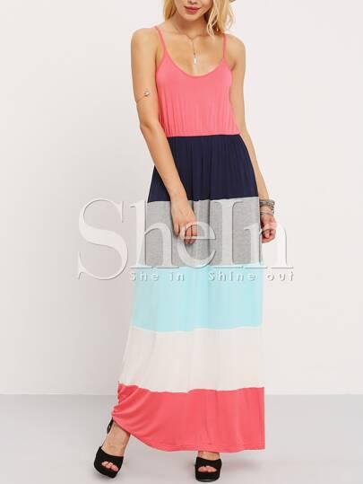 Vestido tirante fino maxi -multicolor