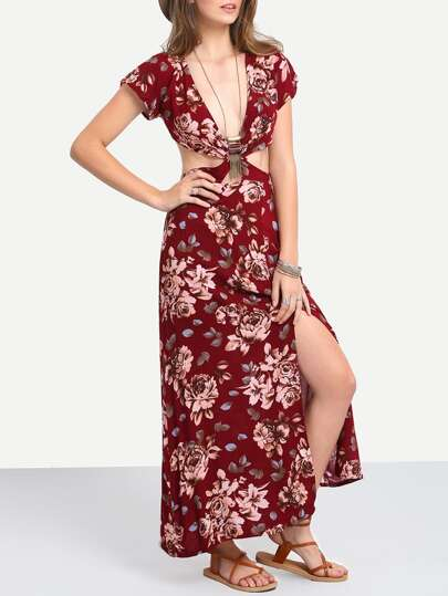 Deep V Neck Florals Cut Out Split Dress