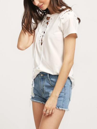Beige Short Sleeve Lace Up T-shirt