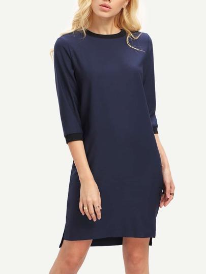 Navy Mock Neck Dip Hem Tunic Dress