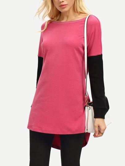 Camiseta cuello redondo color combinado -rosa negro