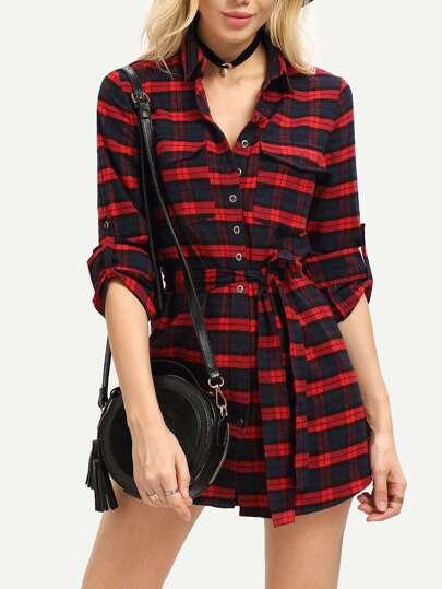Red Long Sleeve Plaid Grid Babydoll Dress
