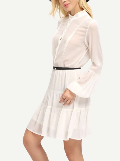 White Puff Sleeve Flounce Dress