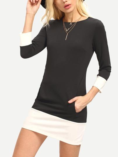 Black Boat Neck Pockets Contrast Hem Dress