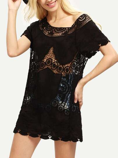 Black Crochet Insert Short Sleeve Dress