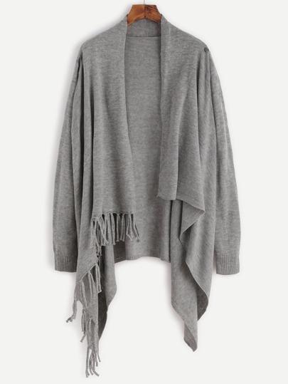 Grey Long Sleeve Tassel Sweater