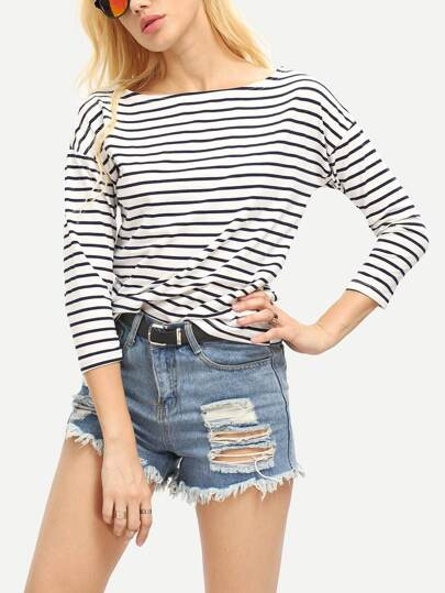 Blue White Stripe Scoop Neck T-shirt