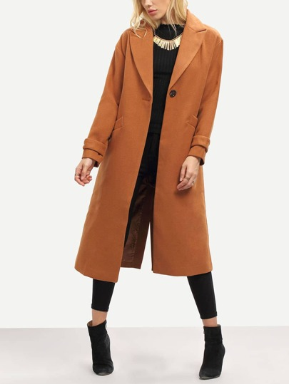 Camel Long Sleeve Lapel Pockets Coat