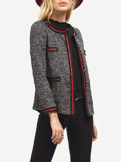 Grey Long Sleeve Pockets Coat