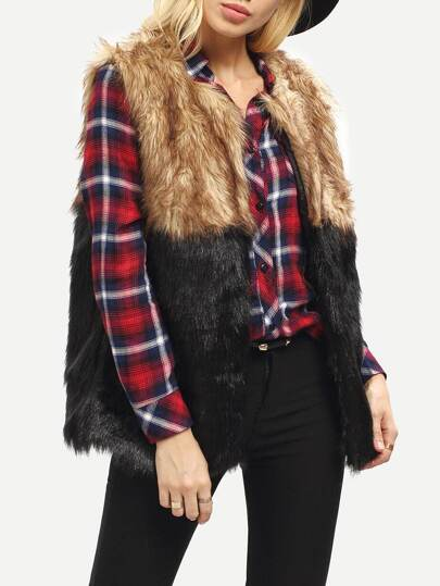 Brown Black Sleeveless Color Block Faux Fur Vest