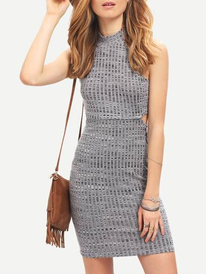 Grey Crew Neck Cut Out Bodycon Dress
