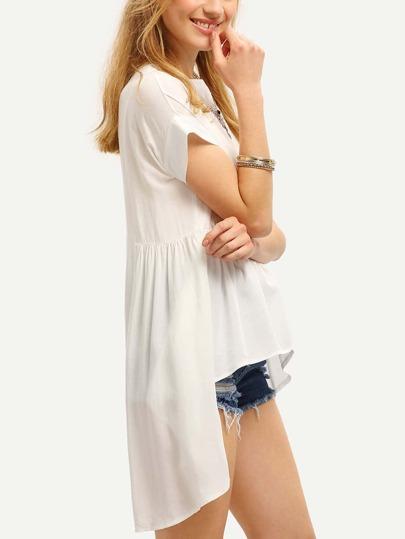 Bluse vorne kurz hinten lang - weiß