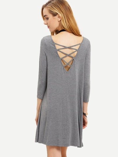 Grey Pullover Long Sleeve Charcoal Backless Dress