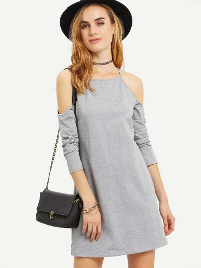 Grey Spaghetti Strap Cold Shoulder Dress