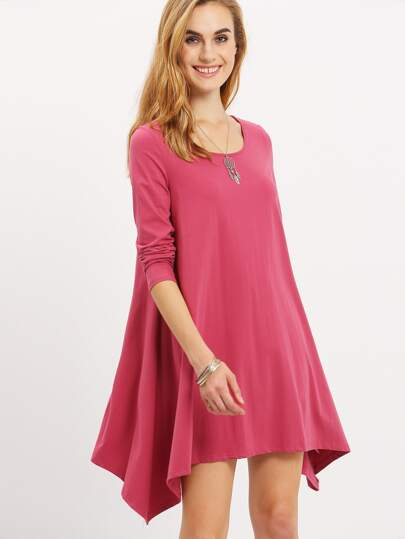 Purple Long Sleeve Asymmetric Dress