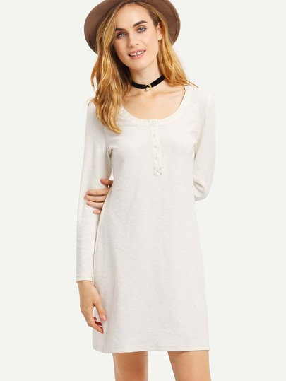 White Scoop Neck Ribbed Dress