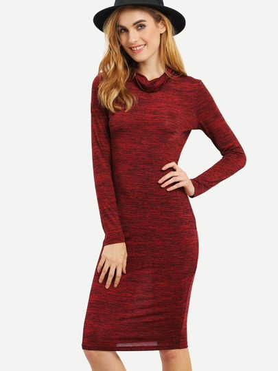 Burgundy Turtleneck Midi Dress