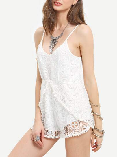 White Spaghetti Strap Crochet Lace Playsuit