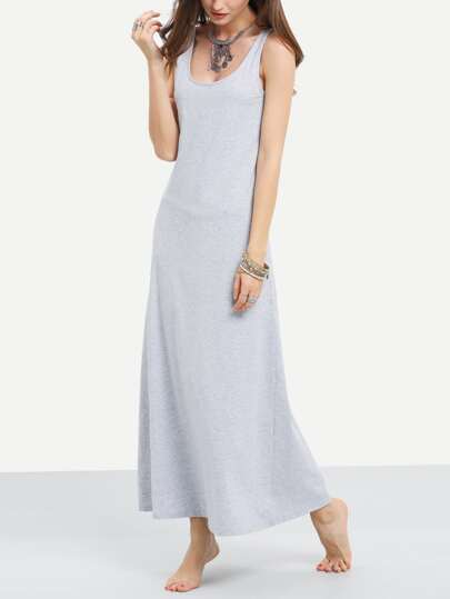 Grey Strap Shift Ankle Dress