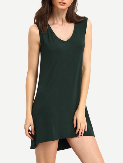 Green Minis Sleeveless Vest Casual Dress