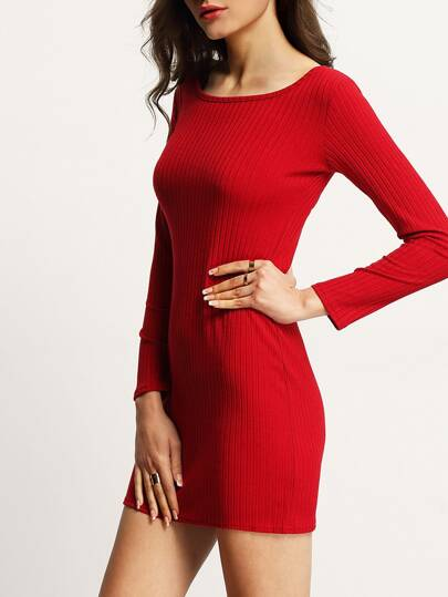 Red Long Sleeve Scoop Neck Bodycon Dress