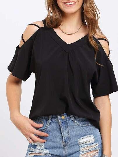 Black Crisscross Shoulder V Neck Blouse