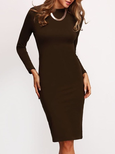 Green Crew Neck Sheath Dress