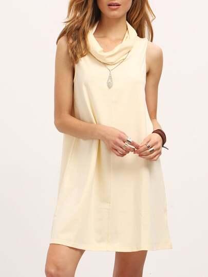 Beige Cowl Neck Sleeveless Shift Dress