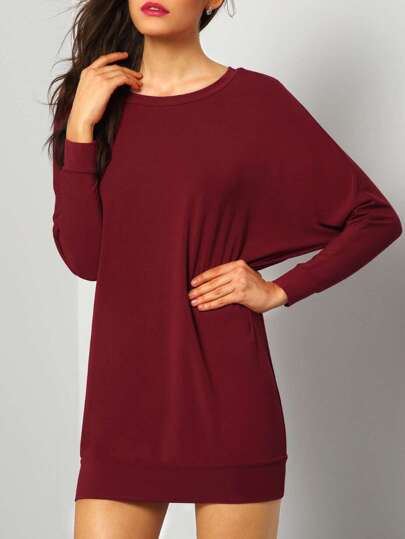 Wine Red Long Sleeve Inch Casual Dress