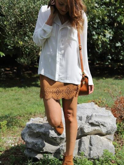 White V Neck Long Sleeve Pockets Loose Blouse