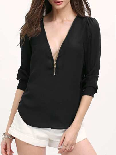 Black V Neck Long Sleeve Zipper Top