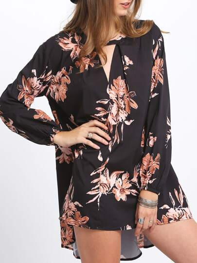 Black Cut Out Front Floral Dress