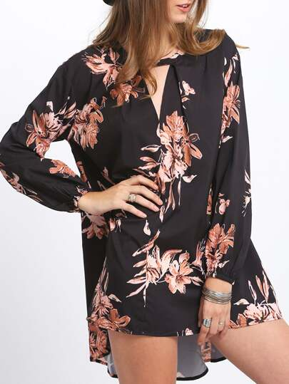 Vestido cut out flores -negro