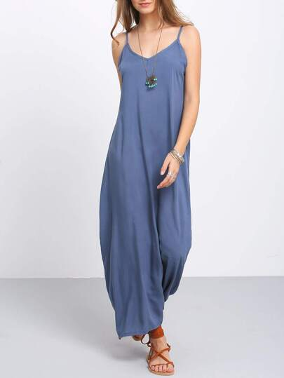 Navy Spaghetti Strap Maxi Dress With Pockets