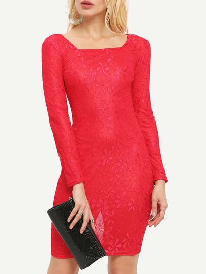 Red Square Neck Long Sleeve Lace Dress