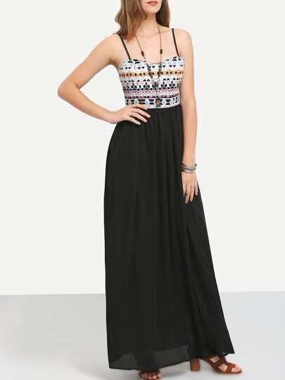 Black Spaghetti Strap Tribal Maxi Dress