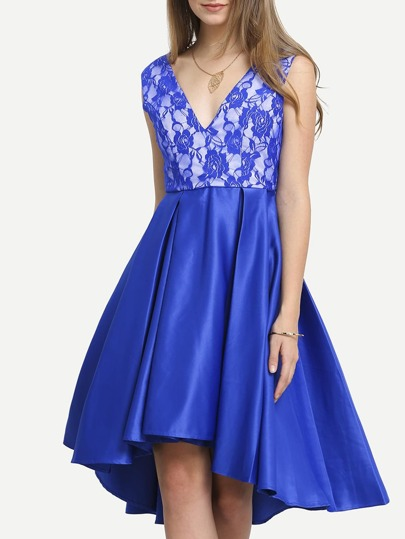 Blue Plunge V Back Pleated  Dress