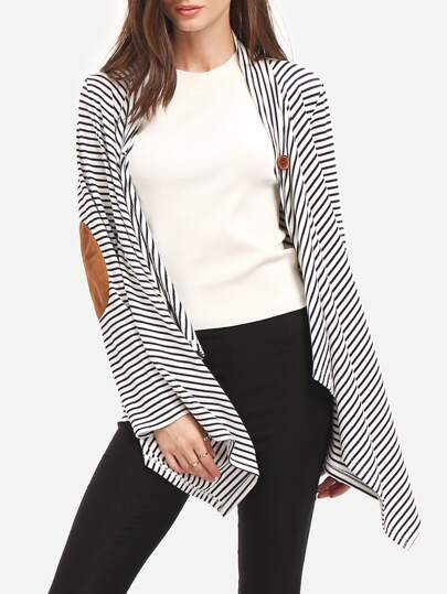 White Striped Elbow Patch Asymmetric Outwear